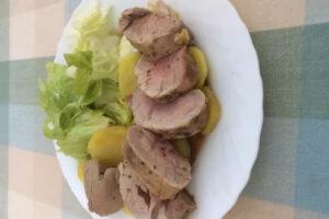 Solomillo de cerdo con soja al vapor con el robot de cocina Taurus Mycook